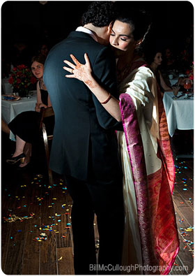 South asian bride and groom first dance